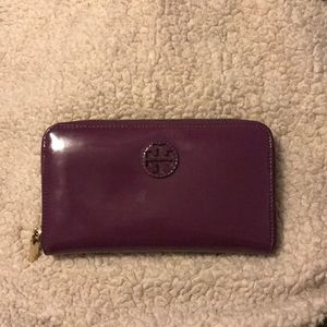 Tory Burch wallet - purple patent leather
